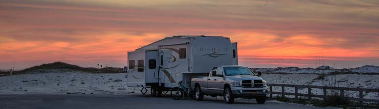 RV camping on Florida beach