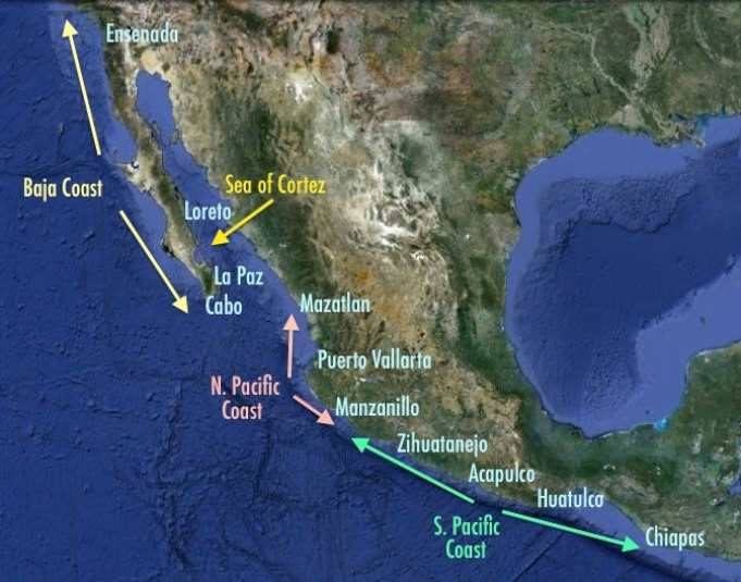 Map of Mexico Cruising Destinations