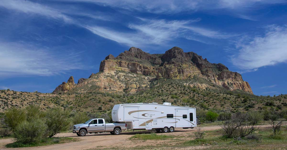 Dodge Ram 3500 towing a fifth wheel trailer boondocking