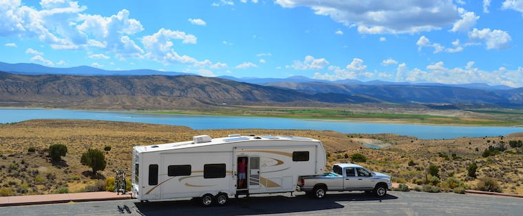 Overlooking Lucerne Valley in Flaming Gorge, Wyoming, while boondocking in our RV