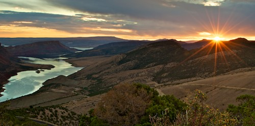 Sunset at Flaming Gorge Sheep Creek Canyon Wyoming