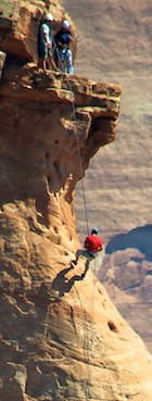 Rock climbers on Independence Monument at Colorado National Monument