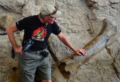 The National Park Service encourages visitors to touch the dinosaur bones