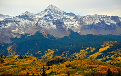 Telluride Colorado Dallas Divide Snowcapped Mountains and fall colors