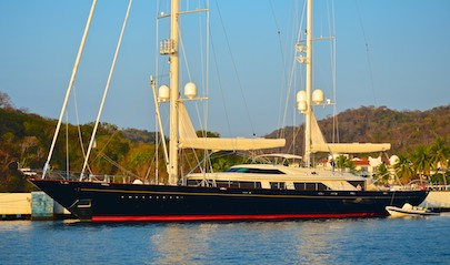 Saiilng Yacht Tamsen was very beautiful tied up near us in Huatulco Mexico