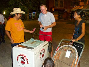 Enjoying popsicles (paletas) from a cart in Huatulco Mexico (sailing blog)