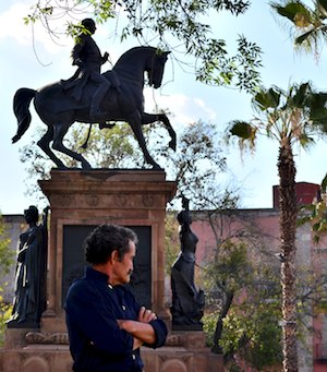 Mexican hero José María Morelos y Pavón on horseback.  Morelia was named after him.