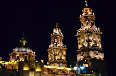 Morelia Mexico cathedral at night living aboard blog