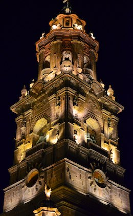 Morelia Mexico cathedral spire at night living aboard blog