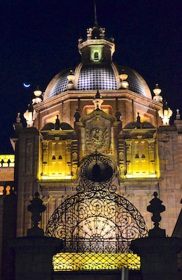 Morelia Mexico cathedral entrance at night living aboard blog