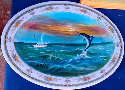 painted plate Zihuatanejo sail blog