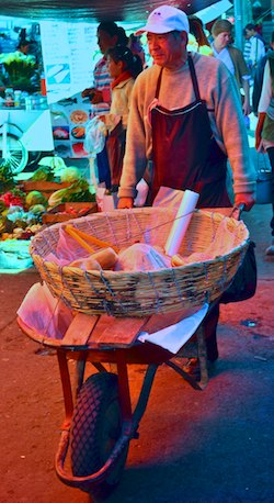 Patzcuaro Mexico indian market wheelbarrow sailing blog