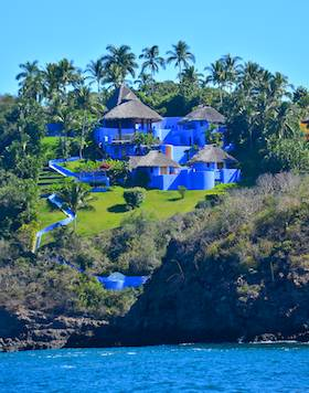 Careyes castle Costalegre Mexico blue oceanfront estate