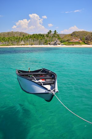 Porta-bote floats on turquoise water
