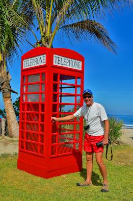 English phone booth on the beach