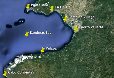 Map of Banderas Bay Puerto Vallarta
