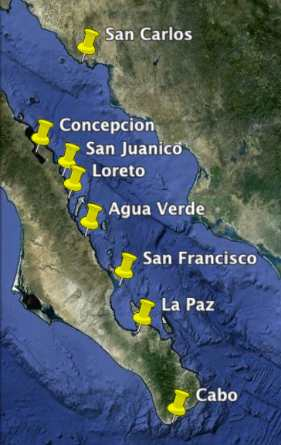 Map of Sea of Cortez Cruising Anchorages