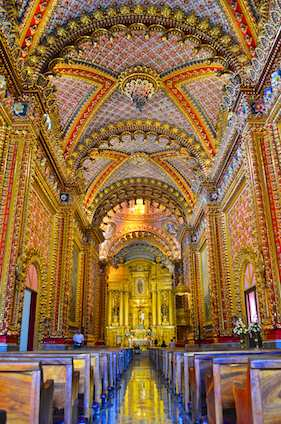 The jewel box interior of Morelia's Our Lady of Guadelupe church.