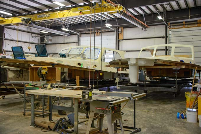Hinckley Yachts deck sections being built