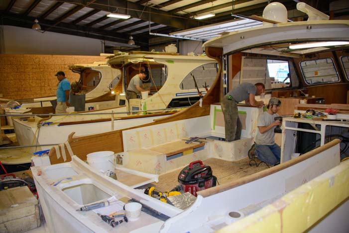 Hinckley Yachts under construction