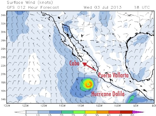 What the forecast map looked like for our noontime sail out of Banderas Bay (Puerto Vallarta).  Ride that train!!