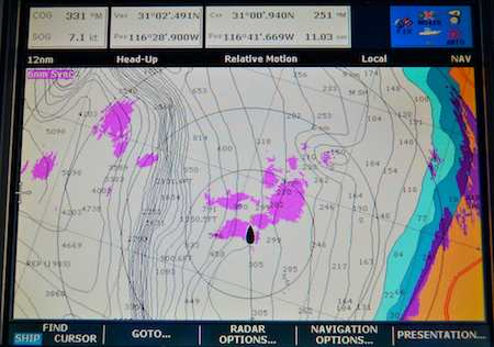 Chartplotter image on Baja Bash shows storms at sea