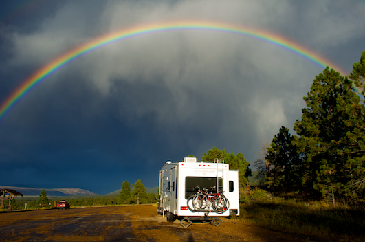 Rainbow over fifth wheel