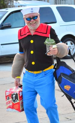 Popeye made off with a two-four of beer to wash all that spinach down.