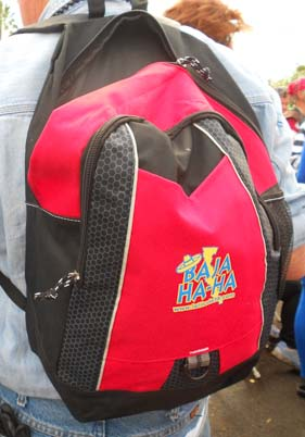 The Ha-Ha swag bags were a big hit -- very classy backpacks.