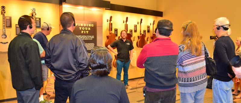 Taylor Guitar tour guide and group
