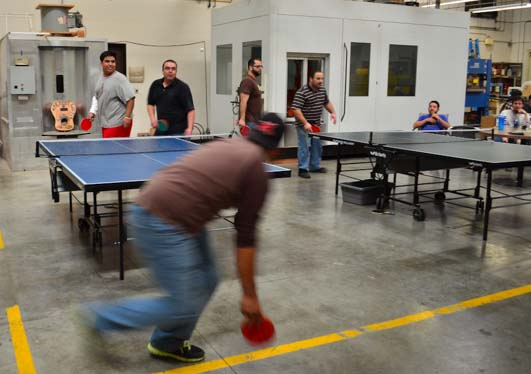 Ping-pong at lunchbreak at the Taylor Guitar factory