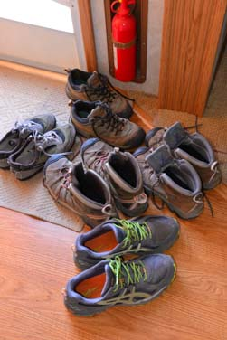 Hiking shoes at RV our door