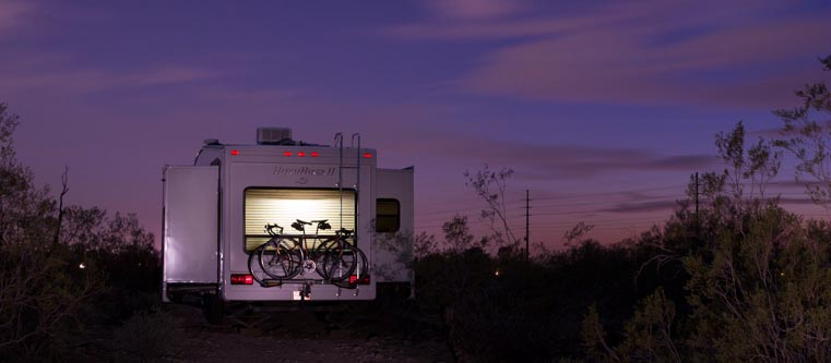 Home sweet home - our RV at dusk