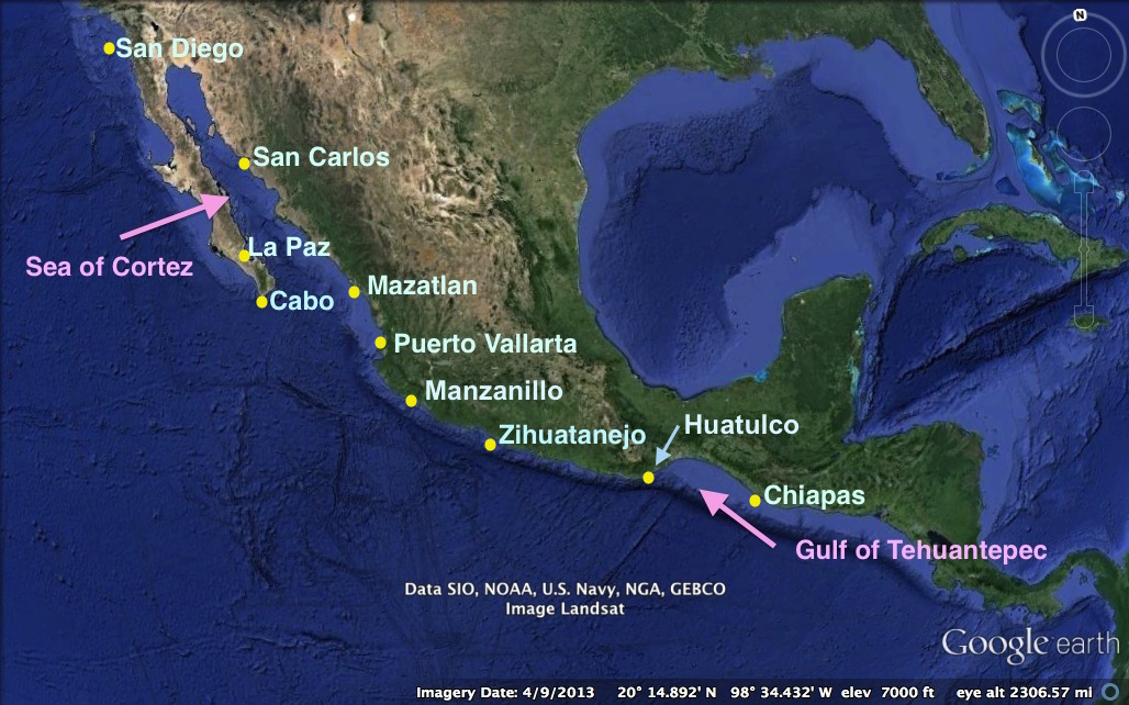 Map of Mexico and Pacific Coast Anchorages