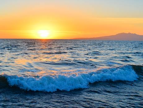 Sunset on the waves in Puerto Vallarta Mexico