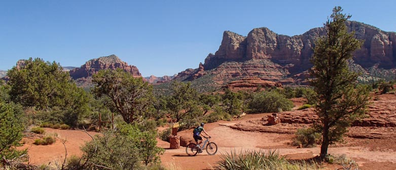 Mountain biking on the Bell Rock Pathway