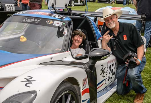 Sitting in a Radical race car with driver Don Hoffman