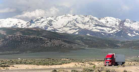 Snow-capped mountains outside Elko Nevada