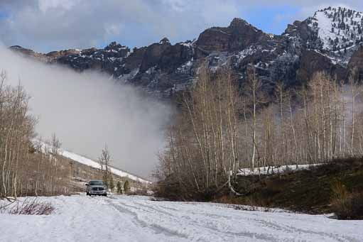 Mist and snow in Lamoille Canyon near Elko Nevada