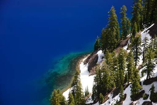 Royal blue water in Crater Lake Oregon