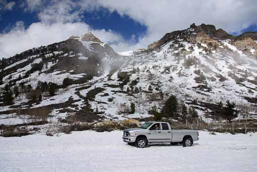 Our truck in the snow in Lamoille Canyon near Elko Nevada