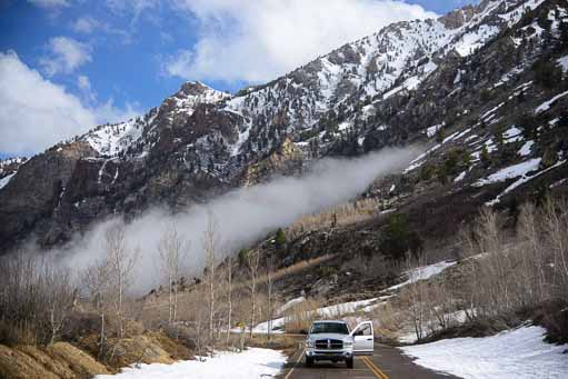 Mist, snow and our truck in Lamoille Canyon