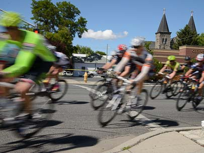 A blur of cyclists race the Baker City Cycling Class bike race in Oregon