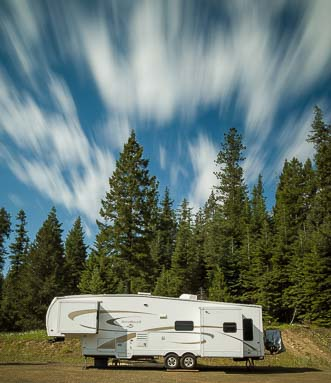 Clouds over our fifth wheel trailer