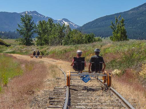 Biking on the railroad with mountain views