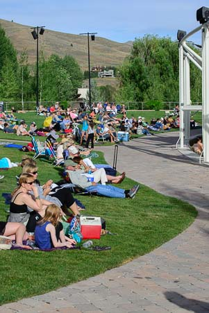 Audience on the lawn at the Sun Valley Pavilion