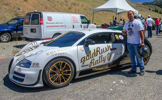 Benjamin Chen with his winning Bugatti at Sun Valley Road Ralley in Idaho