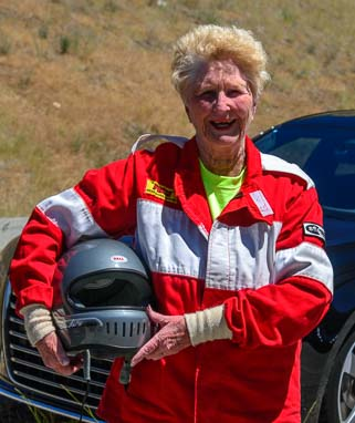 Car racer Shirley Veine age 81 in Sun Valley Road Rally in Idaho