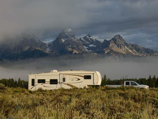 RV fifth wheel in Grand Teton National Park Wyoming