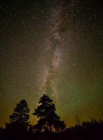 The Milky Way and stars in the night sky at the Tetons
